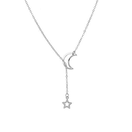 Faliya Delicate Short Schlüsselbein Kette Einfache Mond Stern Anhänger Halskette Schmuck Kostüm Makeup Tools für Frauen und Mädchen, Silber