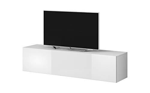 E-com Rocco - Meuble TV Bas, 160 cm, Blanc