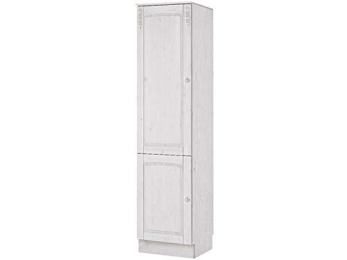 Loft24 Salute Küchenschrank Hochschrank Schrank Küche Kiefer massiv weiß 50 x 50 x 205 cm 2 Türen