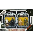 Star Wars Episode VI 6 Collectible Tin Action Figure Set RETURN OF THE JEDI with 4 Action Figures: Biker Scout Trooper, Darth Vader, Princess Leia Ewok, Rebel Commando