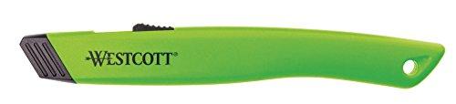 Westcott E-16475 00 Sicherheits-Cutter mit Keramik-Sicherheitsklinge, automatisch einziehbar, grün
