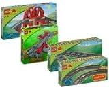 Lego Duplo Ville Eisenbahn 3774 Eisenbahnbrück 3775 Weichen 2734 6 gerade Schienen 2735 6 gebogene Schienen u Minibuch