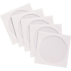 1.000 Stück Kronenberg24 CD DVD Papierhüllen weiss mit transparentem Fenster und Selbstklebeverschluss