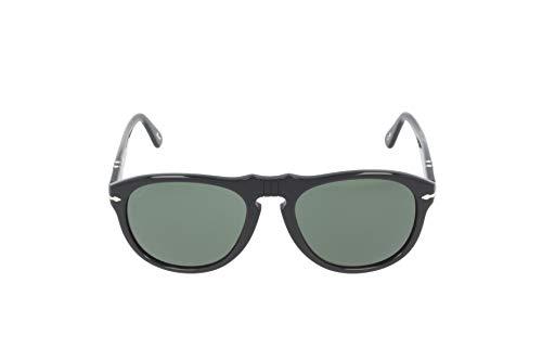 Persol Unisex Classics Sonnenbrille, Schwarz (Gestell: Black Antique Glas: Crystal Polar Green 900058), Small (Herstellergröße: 55)