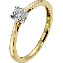 Ice Cap Diamond  -  9 k (375)  Gelbgold Rundschliff    - Engagement Tiffany Diamant-ring