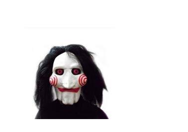 Sunhoyu Film Säge Jigsaw Puppets Halloween Maske, Latex Masken Creepy Massacle Kettensäge Maske Full Prop Scary Unisex Cosplay Partei Liefert