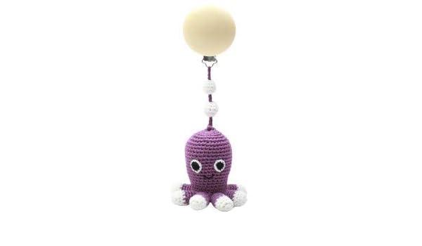 Kinderwagenspielzeug 1 Clip Spielzeug 20 cm Dark Purple Octopus mit Gl/öckchen aus 100/% /Öko-zertifiziertem Bambusgarn Krake f/ür M/ädchen natureZOO Kinderwagenkette