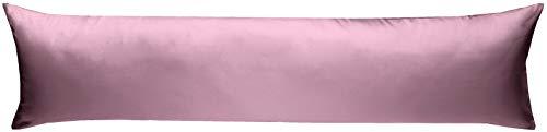 Bettwaesche-mit-Stil Mako-Satin Seitenschläferkissen Bezug aus 100% Baumwolle (Baumwollsatin) Uni/einfarbig (40 cm x 145 cm, Rosa)