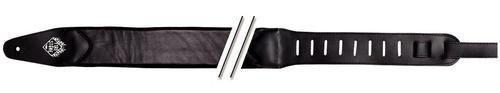 Fire & Stone Comfort-Edition Gitarrengurt (80mm breiter Lamm-Ledergurt, 9mm dickes Polster) schwarz (Lamm-gurt)