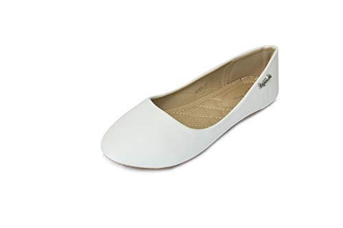 Frentree Klassische Damen Ballerinas Schuhe, Farbe:weiß, Größe:37