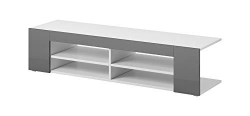 E-com - Meuble TV Armoire Tele Table Television Nova - 140 cm - Blanc/Gris