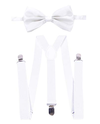 Panegy Herren Hosenträger in Y-Form mit passender Fliege Set Business Festlich Fliege Hosenträger mit Leder Längenverstellbar Hosenträger mit 3 Stabile Clips - Weiß Weiß Bow Tie Set