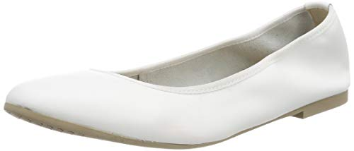Tamaris Damen 1-1-22128-22 117 Geschlossene Ballerinas Weiß (White Leather 117), 38 EU