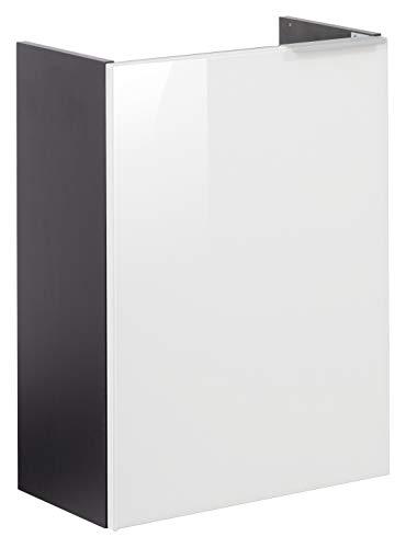 FACKELMANN Mini-Waschtischunterschrank Kara/Badschrank mit Soft-Close-System/Maße (B x H x T): ca. 44 x 60 x 25 cm/Türanschlag Links/Korpus: Anthrazit/Front: lackiertes Glas in Weiß