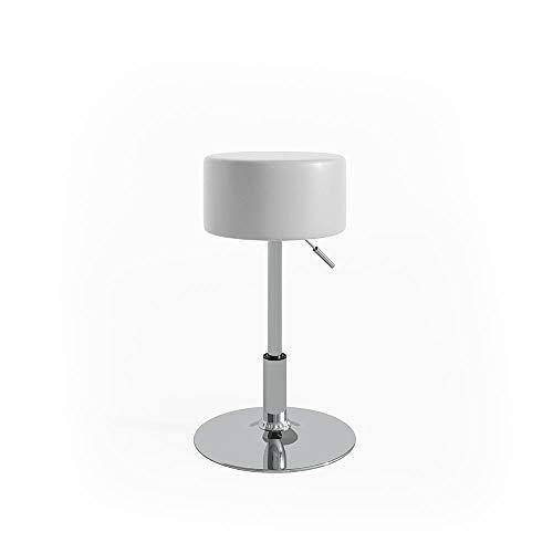 Vicco Design Hocker/Schminkhocker stufenlos höhenverstellbar mit Antirutsch-Sitzbezug aus Kunstleder und verchromten Stahlgestell, Sitzhöhe: 52-67cm (Weiß) -