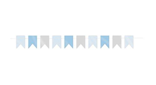 Party Pro 502650, Guirlande mini-fanions gris et bleus