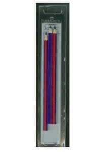Faber-Castell - Blister 3 ecolápices bicolor fino Faber Castell rojo y azul