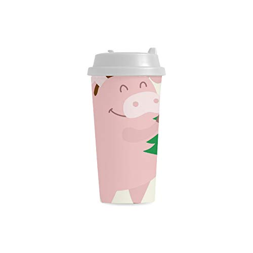 �ckliches Tier nettes Schwein kundenspezifisches personalisiertes Drucken 16 Unze Doppelwand Plastikisolierte Sportwasser Flaschen Schalen Pendler Reise Kaffeetassen Frauen ()