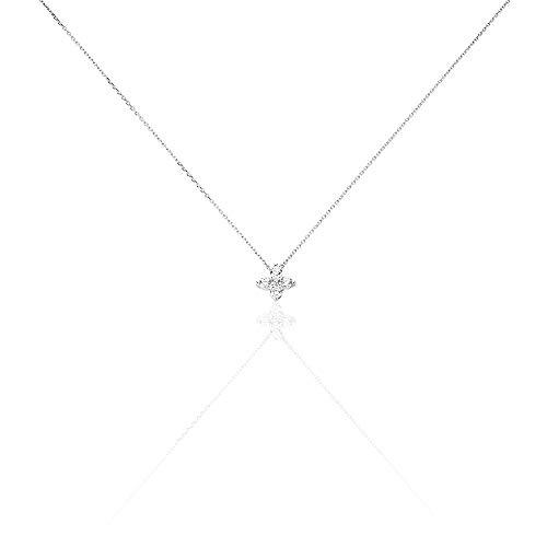 You.Me.We. - Halskette aus 9 Karat Weißgold - Glücksklee Anhänger - 42 cm - Damenschmuck (Imitation Diamant-halskette)
