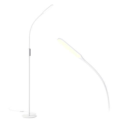 Gladle Stehlampe LED Stehleuchte Dimmbar, 10W Lesen Standleuchte Flexibler Schwanenhals, 3 Farbtemperaturen, 5 Helligkeitsstufen, Leseleuchte für Wohnzimmer, Schlafzimmer, Büro und Schlafsaal(Weiß)