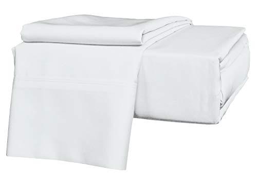SKS Linen Bettwäsche-Set aus 100% ägyptischer Baumwolle, Fadenzahl 400, Lange stapelbare Baumwolle, für bis zu 38,1-40,6 cm Tiefe Taschen, Farbe Traditionell Twin weiß (Twin Set Sheet Lange)