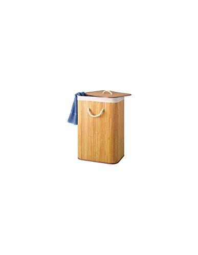 Perel HP100203 Panier à linge, coffre à linge - Bambou Naturelle avec couvercle et sac à lig