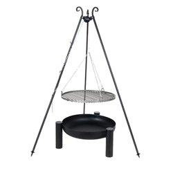 Dreibein Grill VIKING Höhe 180cm + Grillrost aus Rohstahl Durchmesser 60cm + Feuerschale Pan38 Durchmesser 70cm - Viking Outdoor-grills