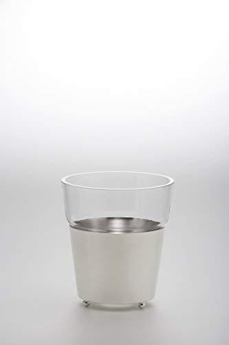 Vase Eiseimer Übertopf mit Glaseinsatz H 15,5cm D 14,0cm versilbert