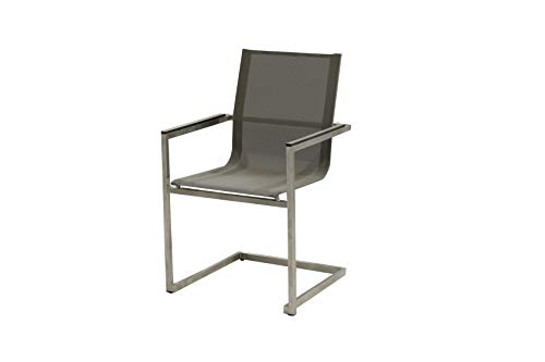 Unbekannt VARILANDO 4er-Set Freischwinger Sean aus Edelstahl und Kunststoffgewebe in Taupe Gartenstuhl ESS-Stuhl