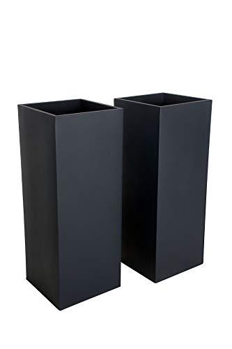 VIVANNO Pflanzkübel Blumenkübel Zink Metall Anthrazit 2er Set Block 100