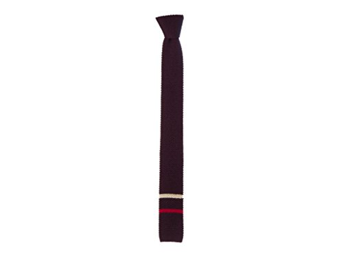 40 Colori - Cravatta in maglia con doppia riga in punta in lana pura, Mirtillo,