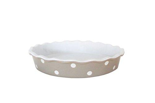 Isabelle Rose - IR5525 - Tarte / Quiche Form - Keramik -beige mit weißen Punkte - Polka Dot