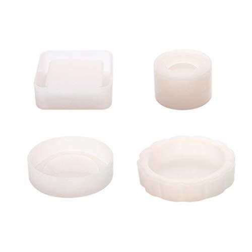 Runde Schüssel-form (Baiyao 4 Pcs Quadratischer Runder Aschenbecher Formt Kleine Schüssel-Silikon-Form-Blumen-Topf-Epoxidharz-Formen Für DIY Fertigkeit)