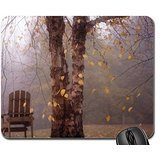 Autumn leaves falling on the chair Mouse Pad, Mousepad (Forests Mouse Pad) - Autumn Falling Leaves