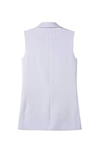 CHENGYANG Blazer sans manche Blouson Long Classique Gilet Doudoune Automne Cardigan Veste pour Femme Blanc