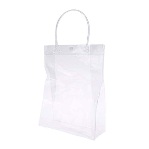 ufstasche PVC Transparant Handtasche Mit Griff Hochzeit Bevorzugungen Make-Up Verpackung Taschen Mit Taste ()