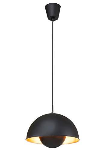 Briloner Leuchten Pendellampe / Pendelleuchte / Hängeleuchte / Hängelampe, retro, vintage, E27, Metall, 60 W, schwarz-gold, 28 x 28 x 130 cm