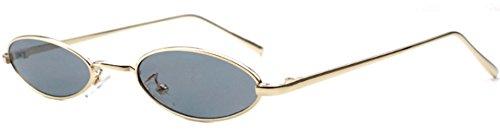 J&L GLASSES Mode Retro ovale Sonnenbrille für Metallrahmen Shades Brillen Katzenauge Metall Rand Rahmen Frau Mode Sonnebrille Unisex Modische Gespiegelte Linse Sunglasses (Gold,black)