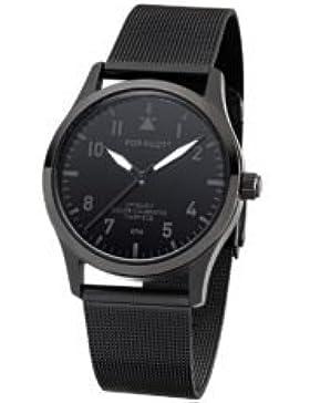 POP-PILOT® KTM I schwarze Fliegeruhr Uhr mit milanaise Armband I wasserfest I 36,5mm I Damen & Herren