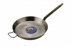 "Catering Classic Heavy Duty Black Iron 14"" Frypan with side handle"