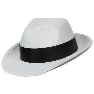 Costumes Hommes Blanc Gangster - Deguisement Chapeau de gangster Mafia Blanc avec