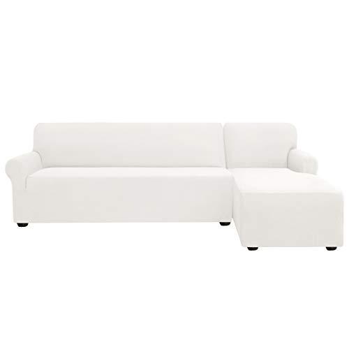 subrtex Sofabezug L Form Stretch Sofahusse Ecksofa Elastisch Antirutsch Eckcouch überwurf Weich Stoff Abwaschbar (Rechts 2 Sitzer, Weiß)