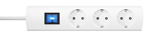 Kopp 232702019 Unoversal Plus Steckdosenleiste 3-fach, 5 m Kabel, 90° gedrehte Töpfe, großer Steckdosen-Abstand, anschraubbar, beleuchteter Schalter, erhöhter Berührungsschutz, weiß