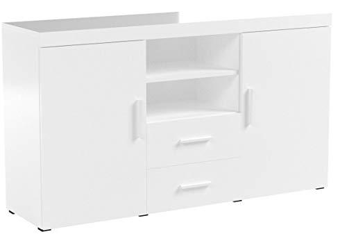 muebles bonitos Buffet Moderne modèle Roque mélaminé Blanc Brillant Largeur 140cm Hauteur 80cm Profondeur 40cm