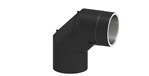 doppelwandiges Ofenrohr Winkelelement 90° mit Tür, Ø 130mm Durchmesser; mit Steckverbindungen; schwarz lackiert