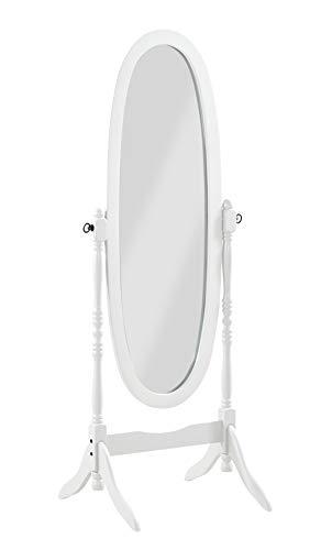 PEGANE Miroir sur Pied, Psyché, Miroir Oval en Bois Blanc et inclinable - Dim : L 59 x P 49.5 x H 150 cm