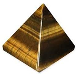 Healing Crystals India®: Natural Gemstone Semi Precious Stone Tiger Eye Pyramid Feng Shui Reiki Healing Energy Charged Pyramid 25-30mm Free E-book about Crystals Healing