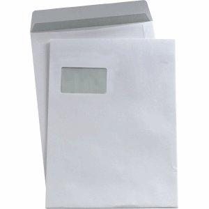 Versandtaschen C4 90g/qm selbstklebend mit Fenster weiß VE=250 Stück