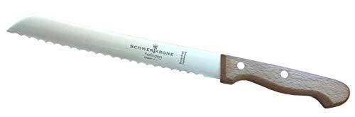 """Schwertkrone Brotmesser Buche / Premiumqualität aus Solingen Messermanufaktur / Klingenlänge 20 cm 8\"""" rostfrei / Wellenschliff / Griff aus Buchenholz / Brötchenmesser / Sägemesser / Brotsäge"""