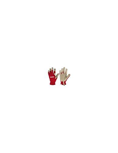 Arbeitshandschuhe Gartenhandschuhe Kunstleder atmungsaktiv Rot-Weiß Größe M